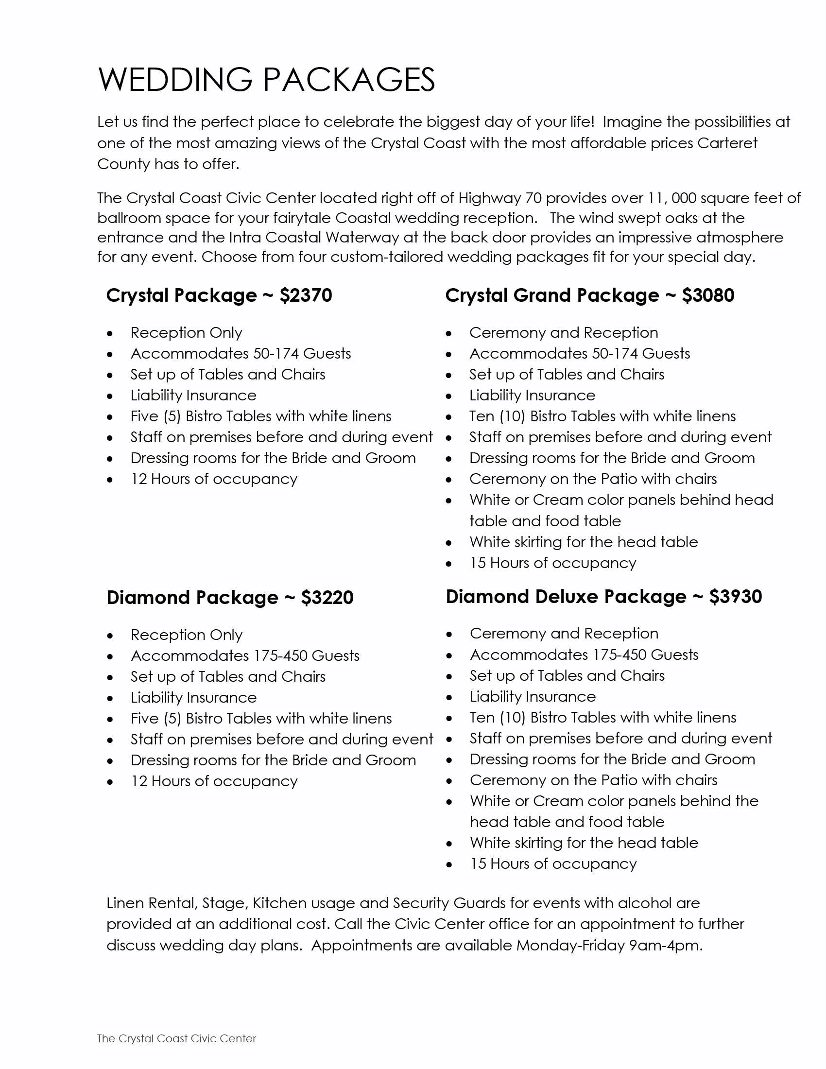 Wedding Packages 2015-16